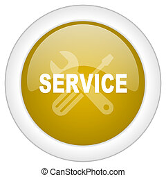 service icon, golden round glossy button, web and mobile app design illustration