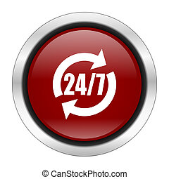 service icon, red round button isolated on white background, web design illustration