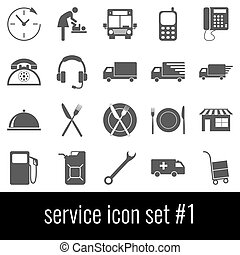 Service. Icon set 1. Gray icons on white background.