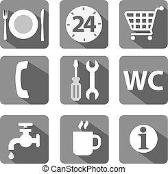 service icon set flat gray