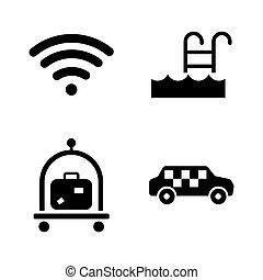 service., iconen, eenvoudig, hotel, verwant, vector