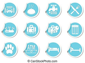 Service Icons on blue labels set
