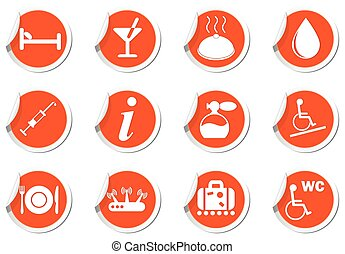Service icons set on orange labels