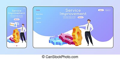Service improvement adaptive landing page flat color vector template. High rating mobile and PC homepage layout. Man reclining to gear one page website UI. CRM software webpage cross platform design