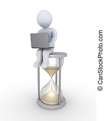 Service in time - Person with laptop is sitting on a big...