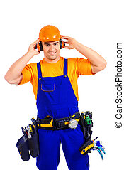service industry - An industrial worker wearing uniform and...