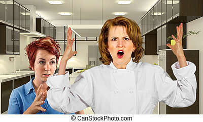 Service Industry Stress - young waitress and chef fighting...