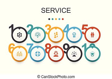 Service Infographic design template. Solution, assistance, quality, support icons