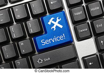 service, -, key), clavier, conceptuel, (blue
