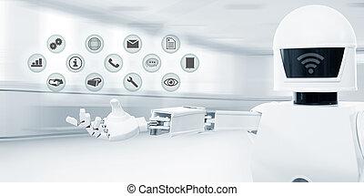 service, kontor, robot, affär, främre del, vit, framtidstrogen