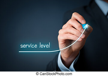 Service level and customer care improvement concept. Businessman draw growing graph with text service level.