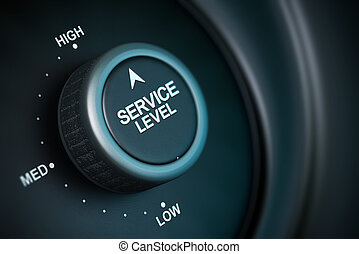 service level button with low, medium and high positions, button is positioned in the highest position, black and blue background, blur effect
