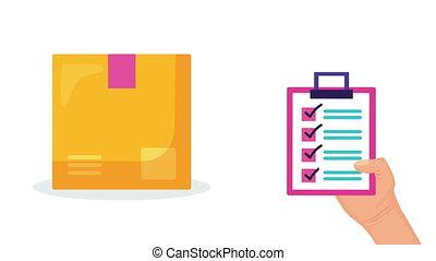 service, liste contrôle, animation, logistique, boîte