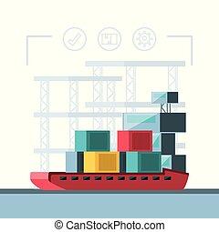 service livraison, à, bateau, cargaison