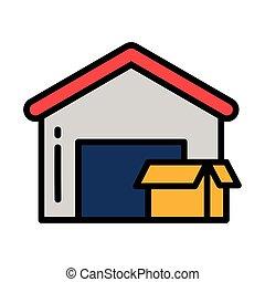 service, livraison, blanc, porte, fond