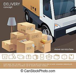 service livraison, concept, coloré