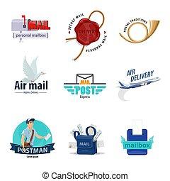 service, livraison, poste, conception, courrier, postal, icône