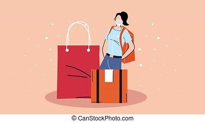 service livraison, sac, courrier, animation