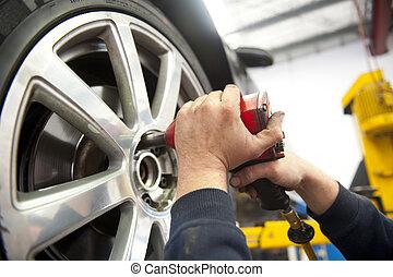 service, mécanicien, pneu