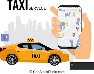 service, main, mobile, taxi, appeler, sign.taxi, texte, grand, smartphone, stationnement, illustration, ligne, ville, transport, vecteur, concept., homme, map.yellow, premier plan, voiture, silhouette