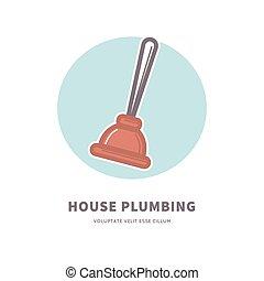 service, maison, caoutchouc, annonce, plomberie, logo, plongeur
