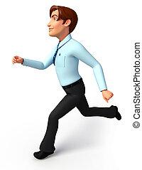 Service man is running