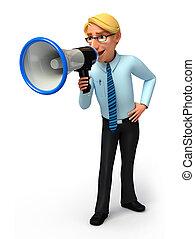Service man with loud speaker - 3d rendered illustration of...