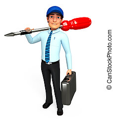 service man with screw driver