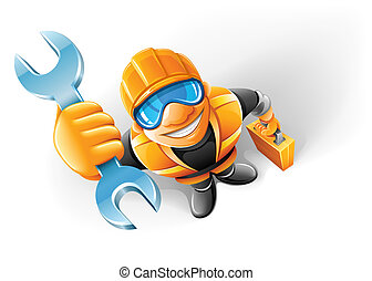 service man worker with key in the arm vector illustration,...