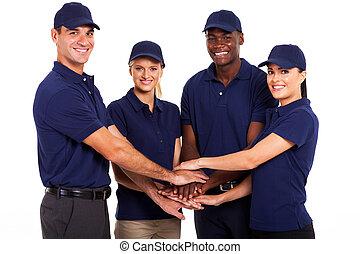 service, mannschaft, hände zusammen