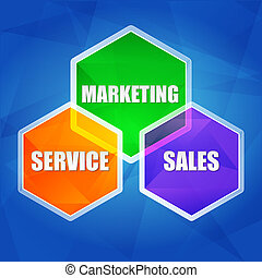 service, marketing, sales in hexagons, flat design