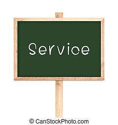 Service on blackboard wood label isolated on white background