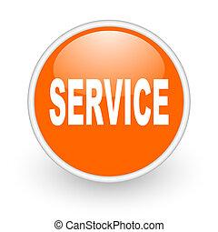 service orange circle glossy web icon on white background