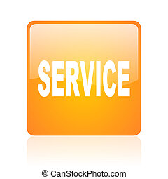 service orange square glossy web icon