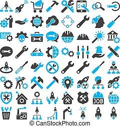 service, outils, icône, ensemble