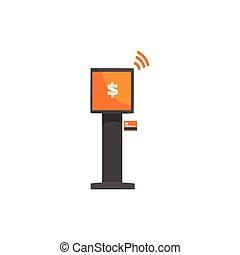 service, paiement, système, kiosque, terminal, illustration...