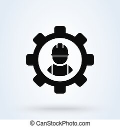 Service Person, worker in gear. Simple vector modern icon design illustration