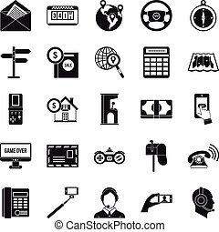 Service phone icons set, simple style