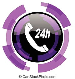 Service pink violet modern design vector web and smartphone icon. Round button in eps 10 isolated on white background.