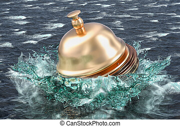 Service problem concept, reception bell drowning in the sea. 3D rendering