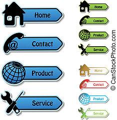 service, produit, -, vecteur, contact, bannières, maison
