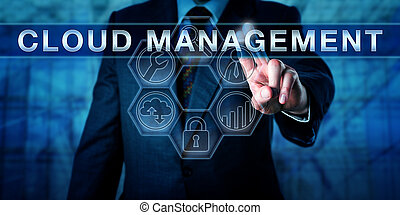 Service provider pushing CLOUD MANAGEMENT on an interactive touch screen display. Business metaphor and information technology concept for configuration and managing of cloud computing services.