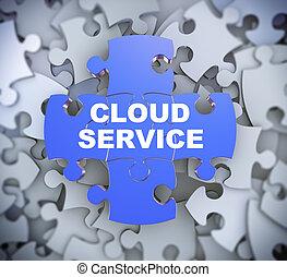 service, puzzle, -, morceaux, nuage, 3d