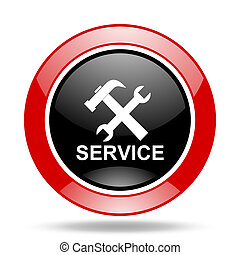 service red and black web glossy round icon