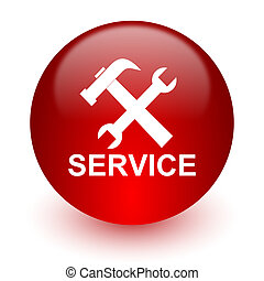 service red computer icon on white background