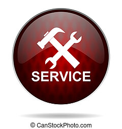 service red glossy web icon on white background