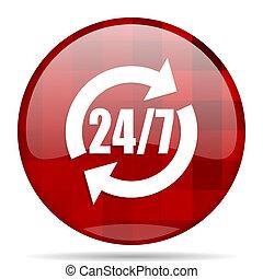 service red round circle glossy modern design web icon
