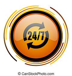 service round design orange glossy web icon