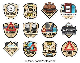 service, särar, bil, coolant., olja, reservdel, motor bil