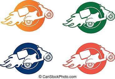 service, scooter, -, jeûne, signe, livraison, vecteur